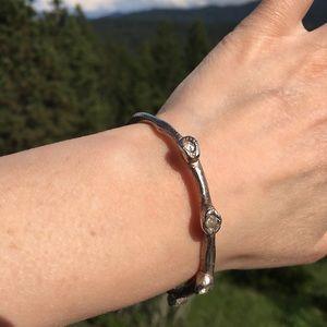 Unique Handmade Hammered Metal+CZ Bracelet